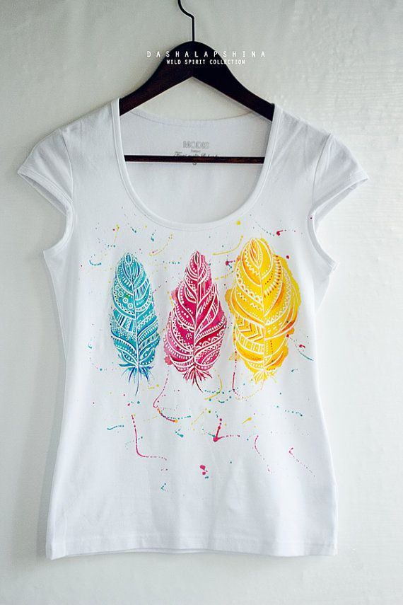 Hand Painted Feather T Shirt White And Colorful Boho Etsy T Shirt Painting Paint Shirts T Shirt Diy