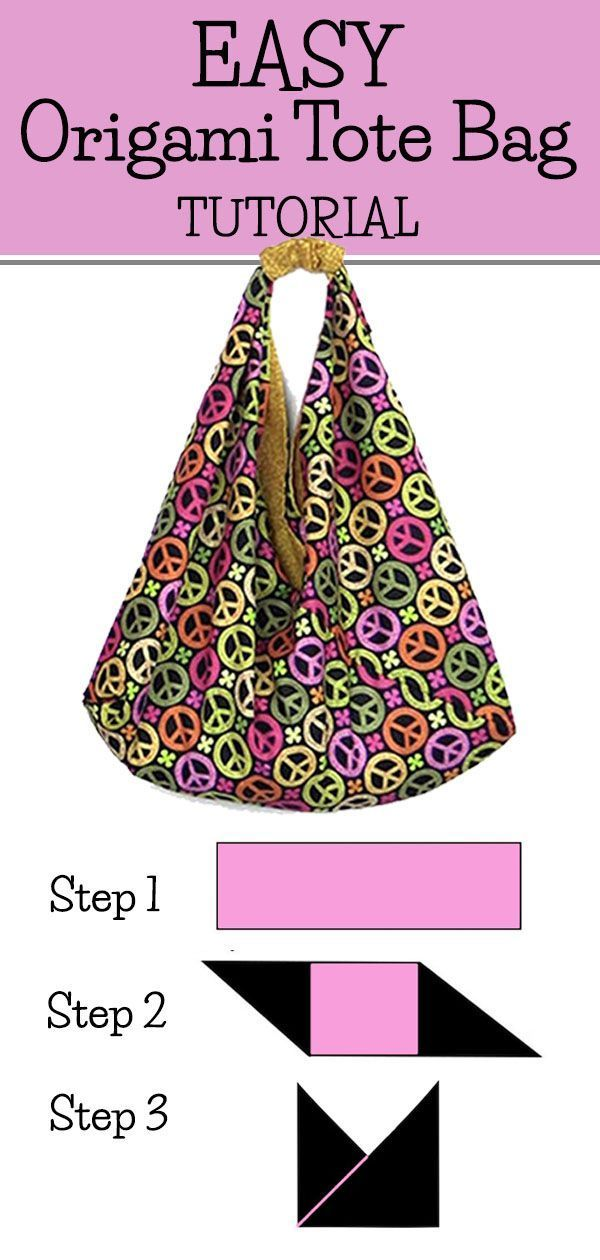 Easy Origami Tote Bag Tutorial  This is a super easy DIY tote bag tutorial with video AND written step by step instructions You can make this out of canvas or quilting fa...