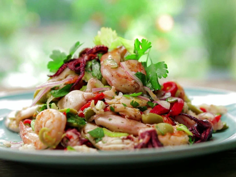 Spanish Seafood Salad Recipe Sea Food Salad Recipes Fresh Salad Recipes Best Salad Recipes