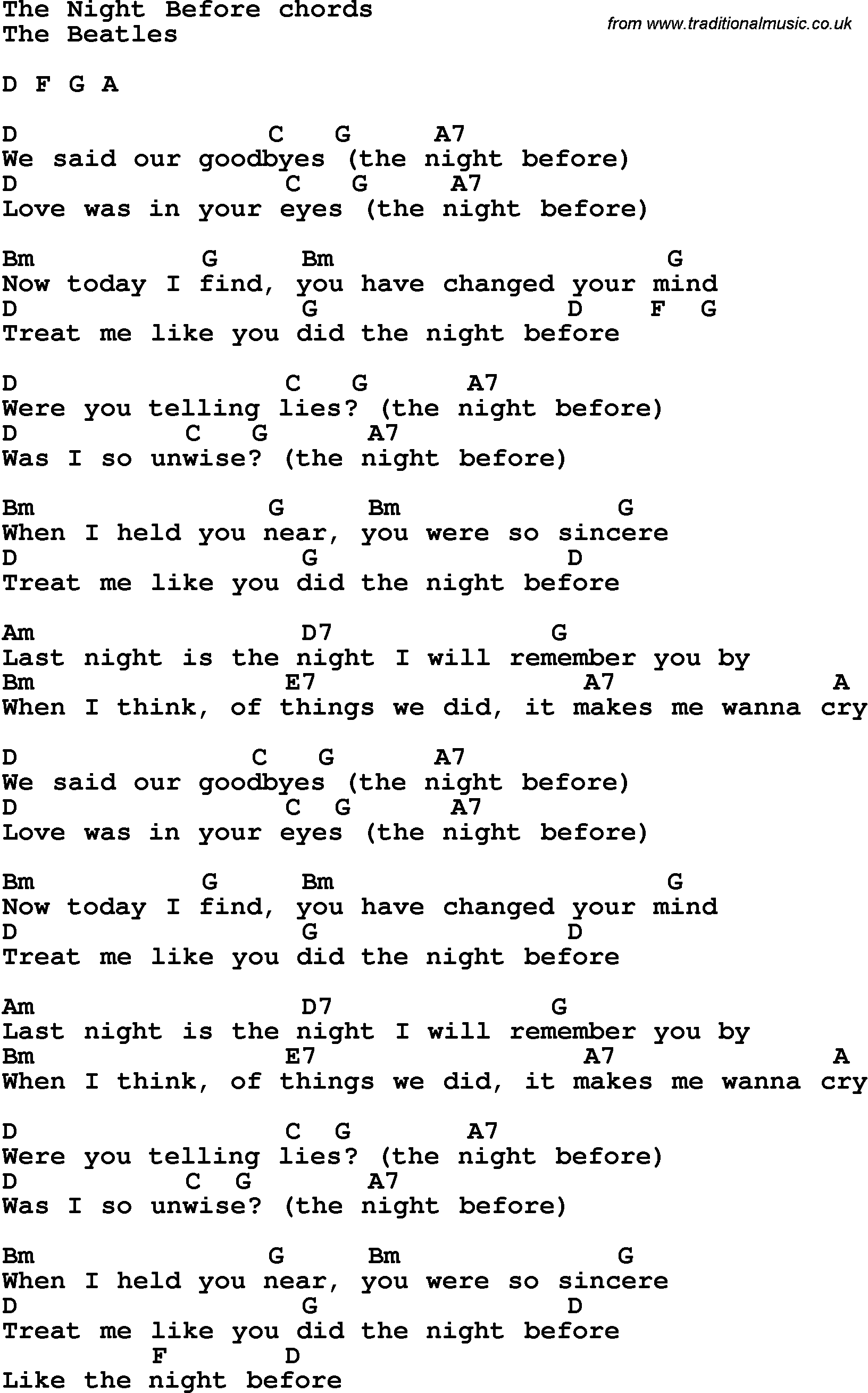 Song Lyrics With Guitar Chords For The Night Before The Beatles