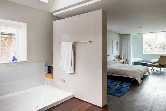 raumtrenner regal ideen raumteiler vorhang weisse deko wand badezimmer buro