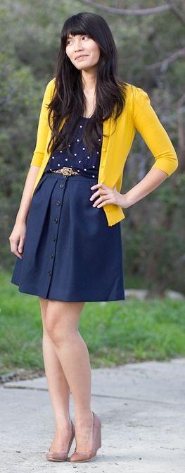 outfit post: navy aline skirt, polkadot blouse, mustard cardigan