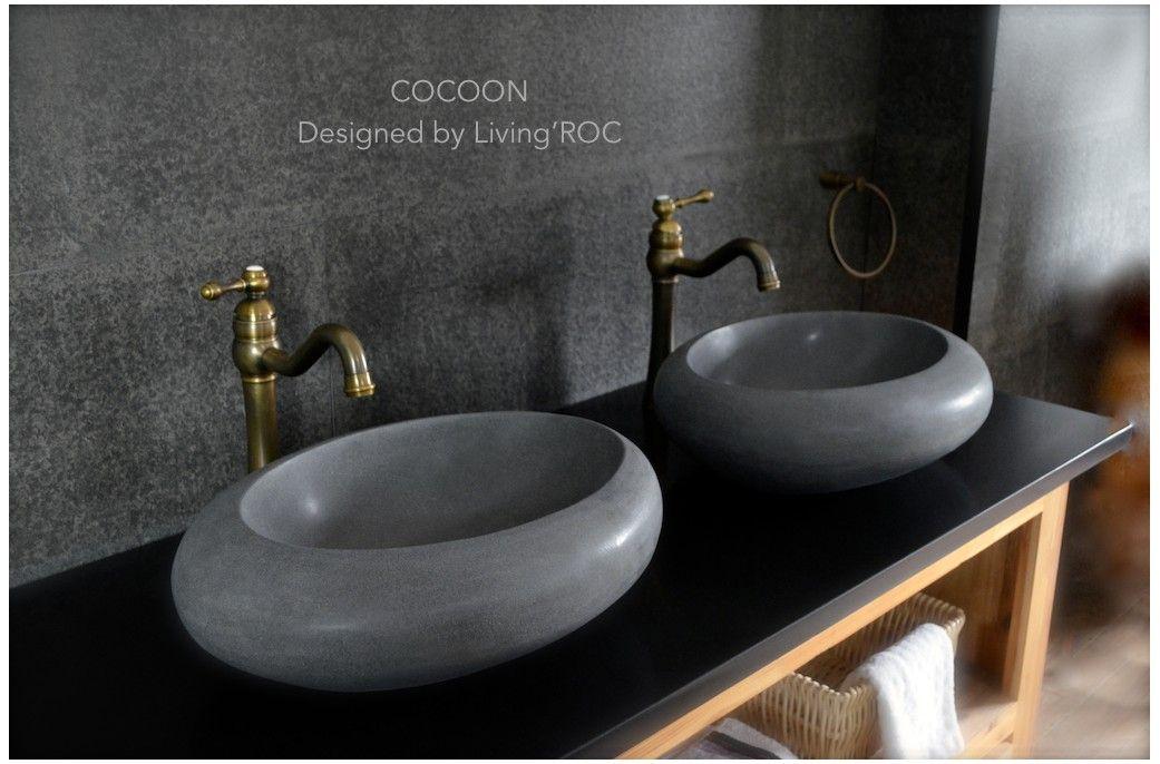 Vasque en pierre à poser oblongue design basalte naturel - COCOON