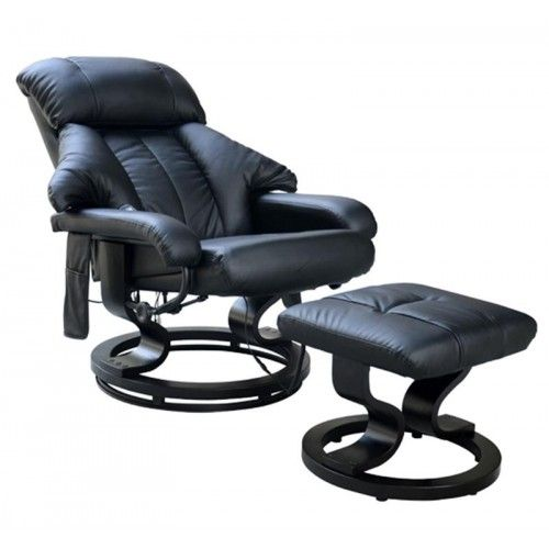 HOMCOM Recliner Massage Chair WFoot Stool Black | Leather