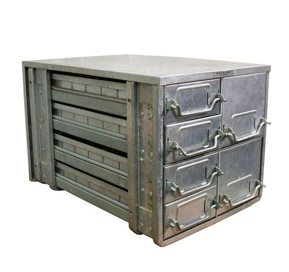 industrial furniture hardware. Vintage Industrial Aluminum Hardware Cabinet, By AuroraMills, $85.00 Furniture