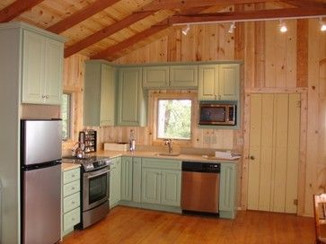 small cabin kitchen with painted cabinets dont love the color but - Cabin Kitchen Ideas