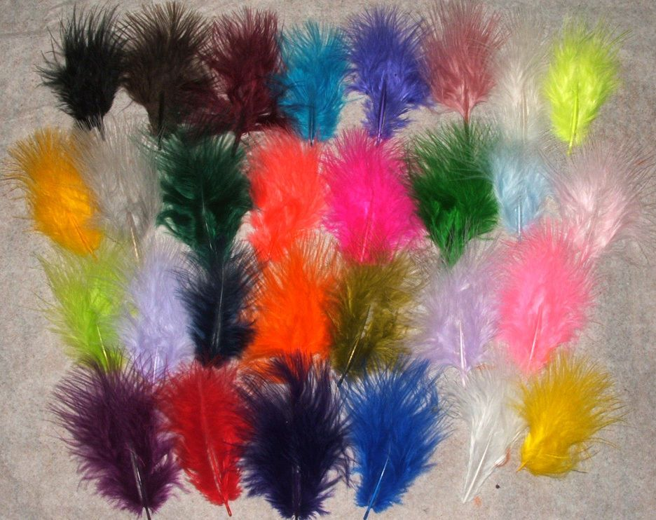 1//4 oz Bag Loose WHITE Turkey Marabou Feathers for Fly Tying