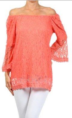 Coral Lace Top - #blondellamydean #plussizefashion #plussize #curves