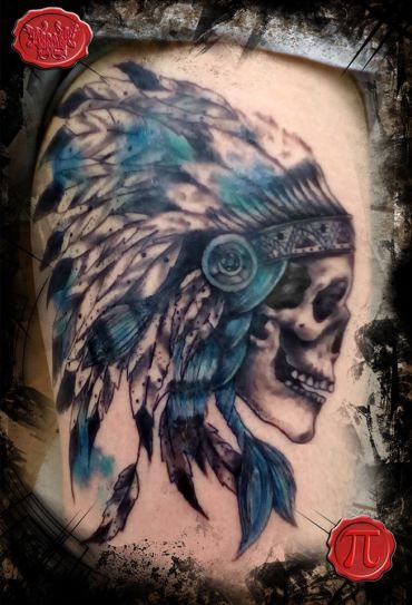 e99211e002fe0 Indian skull tattoo .. watercolors ..watercolor tattoo Engraved Circus  Tattoo Parlour