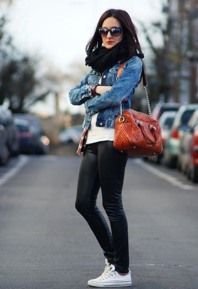Leather look legging, snood, denim jacket and sneakers - great casual look for winter