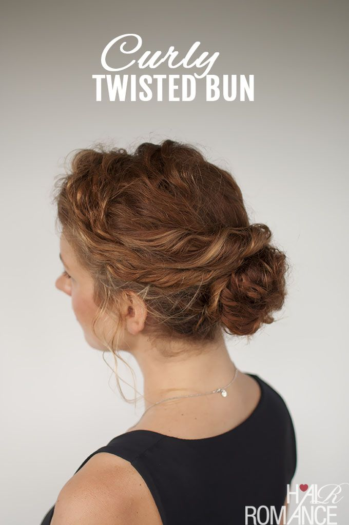 Curly Hair Tutorial Easy Twisted Bun Hairstyle Hair Romance - Styling really curly hair