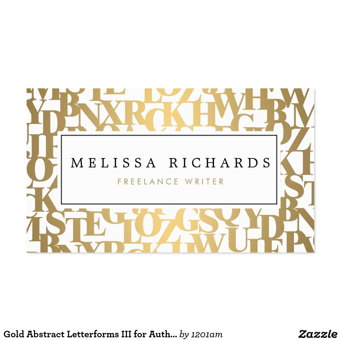 Gold Abstract Letterforms Business Card for Authors, Writers ...