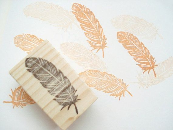 Feather stamp for your wedding invitation by JapaneseRubberStamps