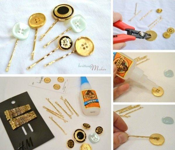 DIY Accessories - button hairpins