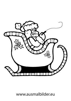 Ausmalbild Nikolaus In Seinem Schlitten Ausmalbilder Weihnachtsmann Ausmalbilder Nikolaus Weihnachtsmann