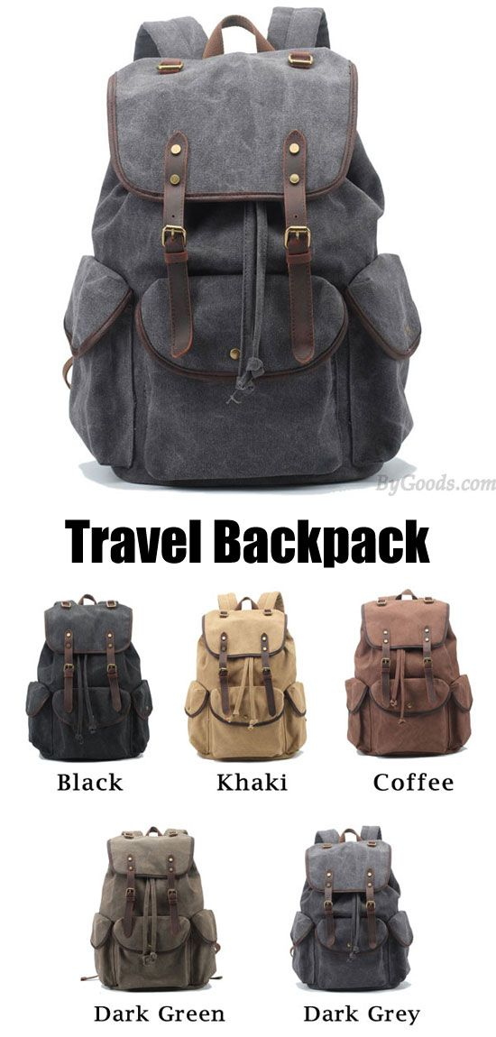 Retro Leather Strap Rucksack Thick Canvas Large Travel College ...