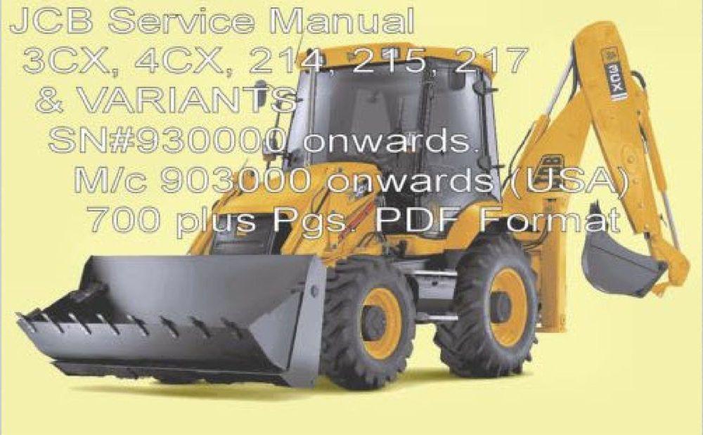 JCB 3CX 4CX 214E 214 215 217 Service Manual Backhoe Loader ... Jcb Backhoe Wiring Diagram on