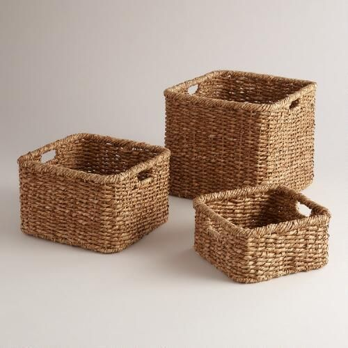 Perfectly Sized To Stow A Whole Array Of Odds And Ends This Trio Square Baskets Combines Sy Construction With Warm Natural Lampakanay Weave For