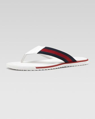 924c51175 Thong Sandal with Web Detail by Gucci at Neiman Marcus.