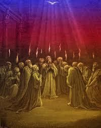 Acts 2: On the day of Pentecost all the believers were meeting together in one place. 2 Suddenly, there was a sound from heaven like the roaring of a mighty windstorm, and it filled the house where they were sitting. 3 Then, what looked like flames or tongues of fire appeared and settled on each of them. 4 And everyone present was filled with the Holy Spirit and began speaking in other languages, as the Holy Spirit gave them this ability.