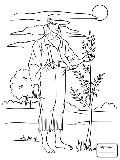 Johnny Appleseed Coloring Pages | Apple coloring pages ...