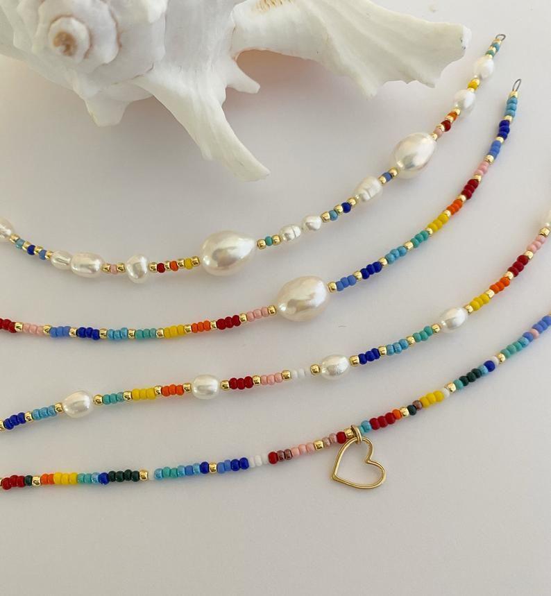Rainbow Pearl bracelet/Freshwaterpearl and seedbeads/Beaded | Etsy