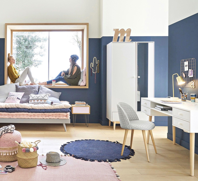 Chambre ado lycéenne colégienne bleu marine et blanche mur deco