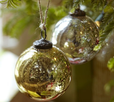 Mercury Glass Decorative Balls Mercury Glass Ball Ornaments  Silver & Gold Set Of 6  Pottery