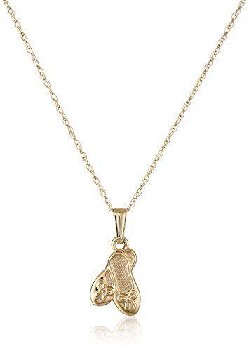Childrens 14k yellow gold ballet slipper pendant necklace check childrens 14k yellow gold ballet slipper pendant necklace check out the image by mozeypictures Images