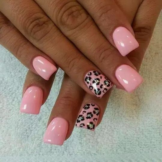Light Pink Leopard Leopard Nails Simple Nails Natural Nails