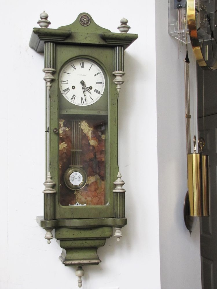 140 This Clock Is A Very Unusual Green Color The Clock Has Sat Around For A While Just Put It On The Wall An Pendulum Wall Clock Clock Vintage Wall Clock