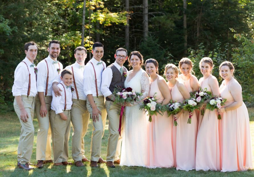 4fb6c5fd468a Bridal Party. Blush pearl pink bridesmaid dresses (style: Azazie Bonnie).  Groomsmen sage green ties and suspenders. #blush #bridesmaiddress #dresses # azazie ...