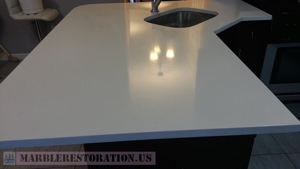 Countertop Restoration Reflection On Glossy Corian Countertop