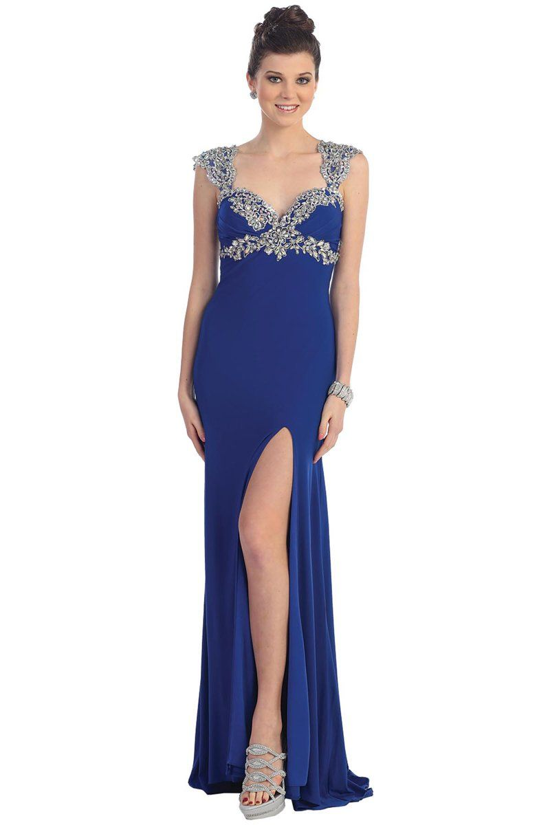 Promdress womenus sleeveless embellished evening prom gown dress