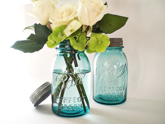 Blue Mason Jars Turquoise Wedding Decor Antique Ball Canning Jar Table Setting Centerpiece