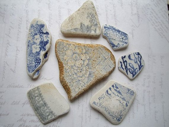 Mixed Blue Prints Scottish Sea Pottery SP1350 by NorthSeaTreasures, $9.00