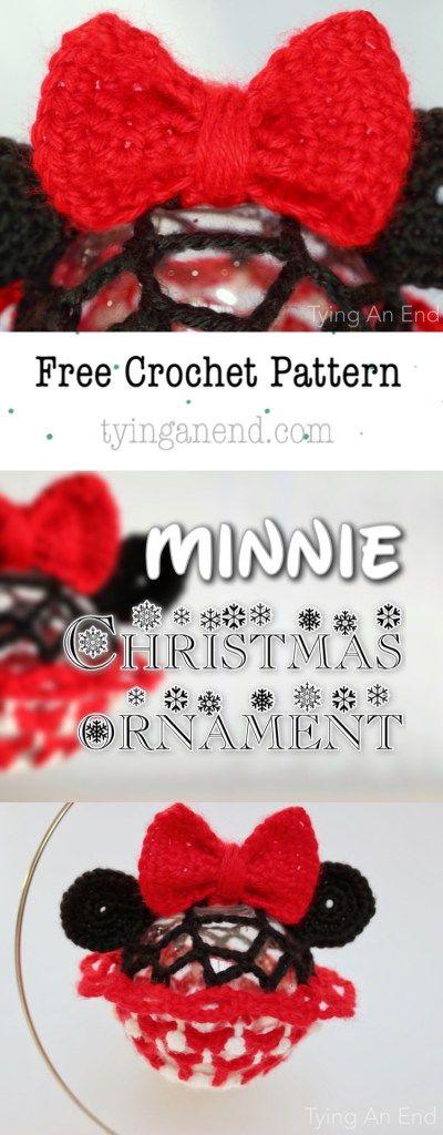 FREE PATTERN] Disney series Christmas ornament: Crochet Minnie Mouse ...