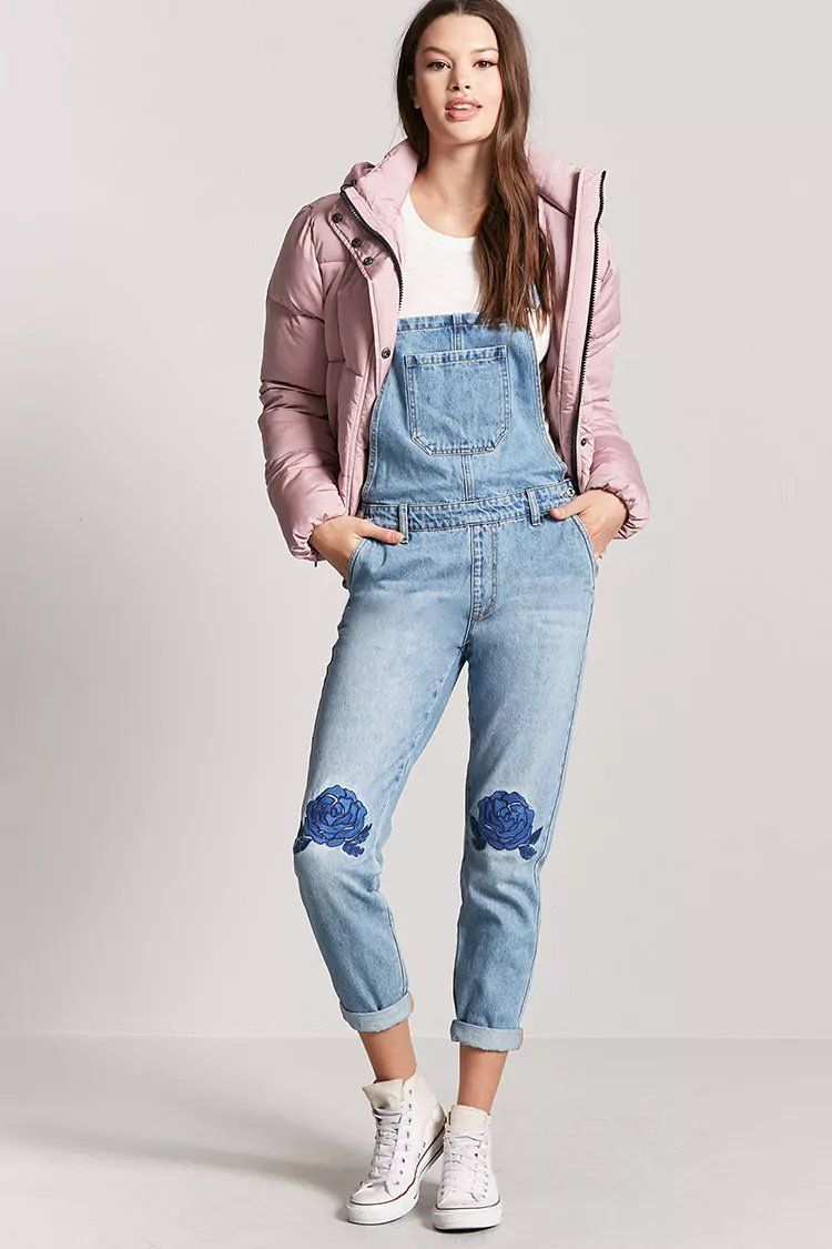 b41d595c28b Product Name Floral Embroidered Denim Overalls