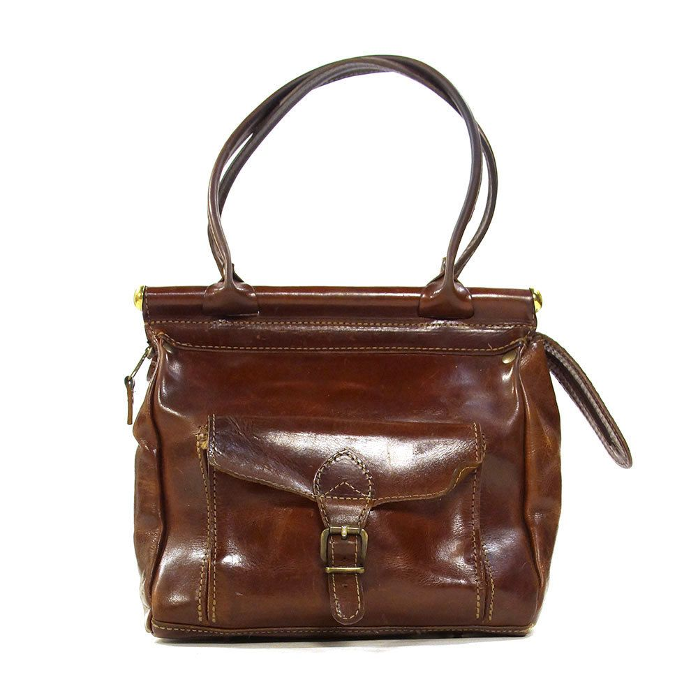70s Leather Bag / Vintage 1970s Mahogany Brown Medium Sized ...