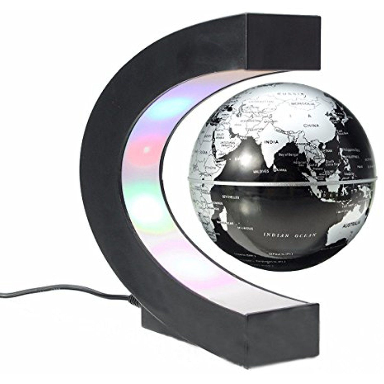 Levitating Globe With Led Lights Floating Desk World Map Globe C Shaped Magnetic Levitation Earth Globe B Magnetic Levitation Floating Globe Colored Led Lights