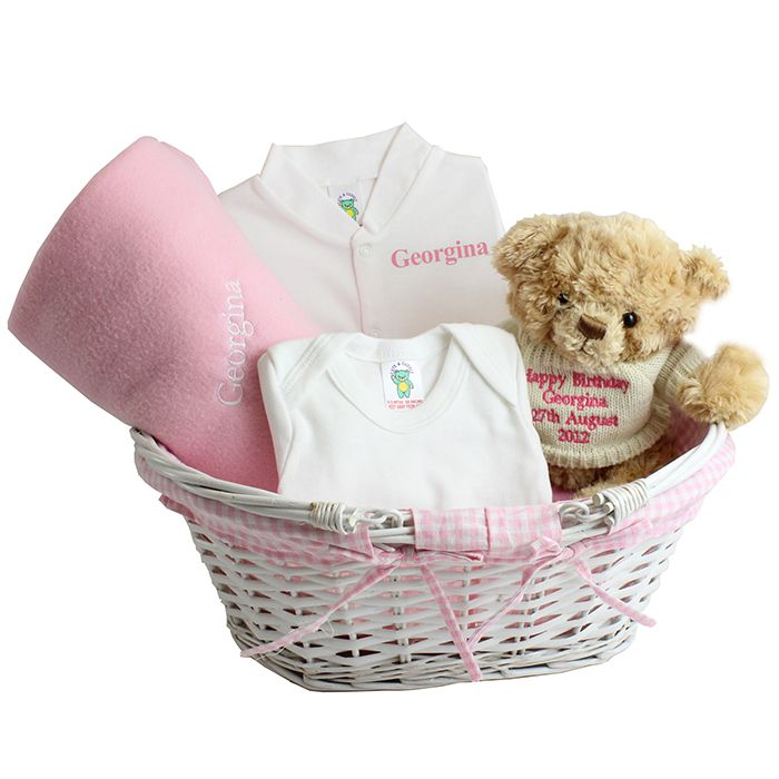 Personalised baby gift basket in pink baby baby baby personalised baby gift basket in pink negle Images