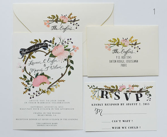 Twig Wedding Invitation (by The First Snow)