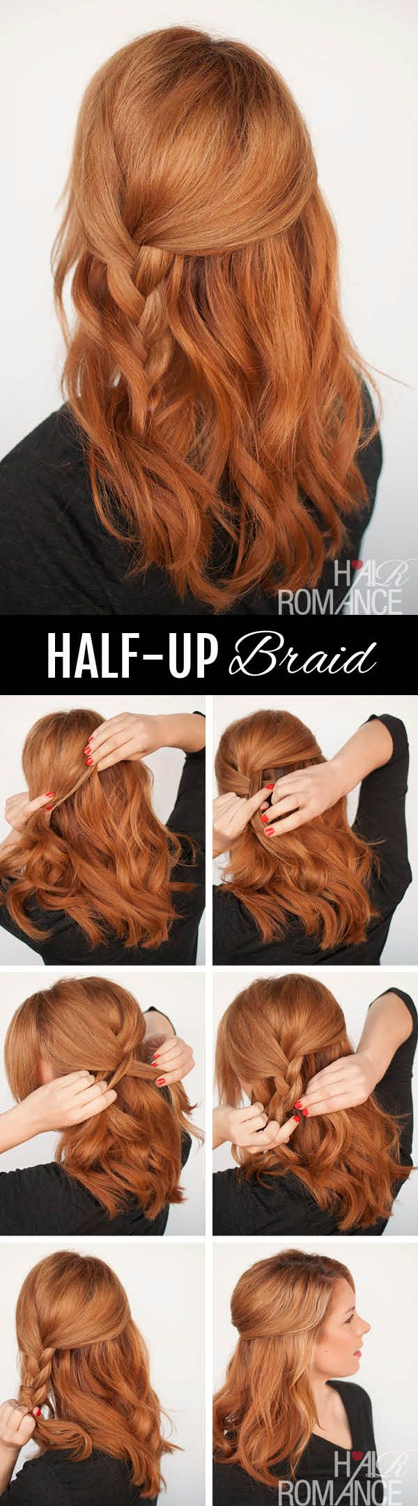 Hair romance half up side braid hairstyle tutorial short hair