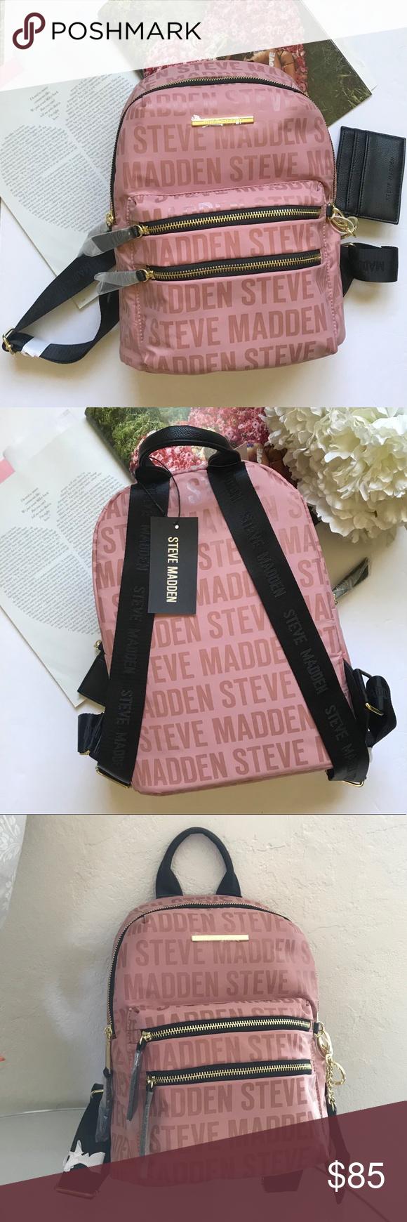 New Steve Madden Pink Logo Backpack Bag Purse Purses And Bags Pink Logo Steve Madden Bags