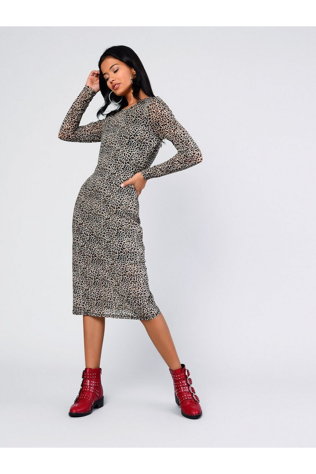9bd8256c6d7   Animal Printed Midi Dress by Glamorous - Dresses - Clothing - Topshop