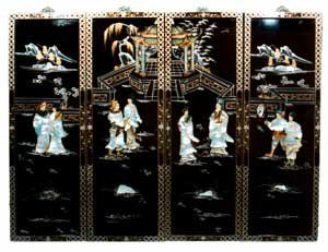 Oriental Black Lacquer Wood Wall Panels Traditional Chinese Temple Scene Hand Painted Mother Of Pearl Shell