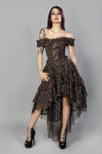 Ophelie Steampunk Kleid Kingbrokat braun   Korsettkleid ...