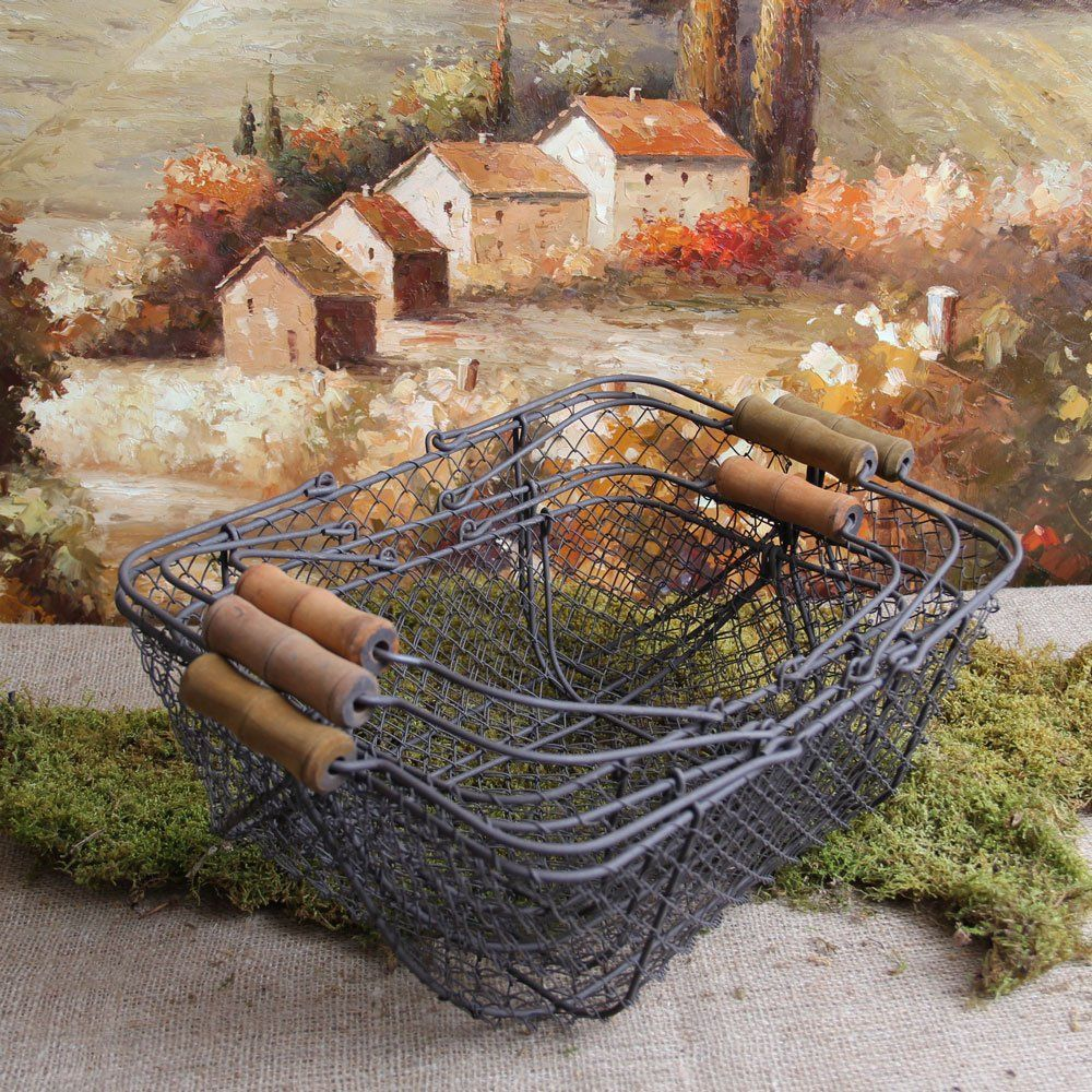 Amazon.com - Set of Three Shabby Cottage Chic Wire Baskets - Home Storage Baskets