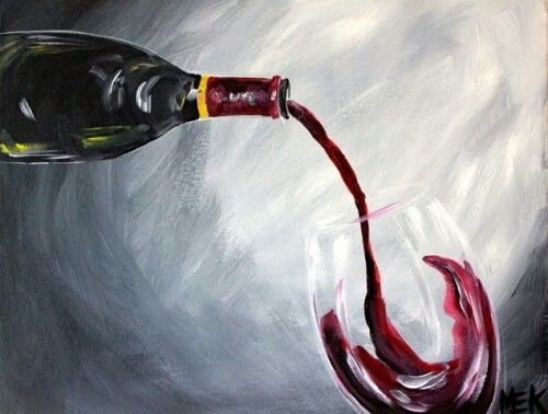 Wine and canvas time to paint pinterest design wine for Can acrylic paint be used on glass bottles