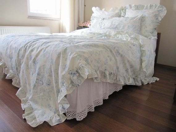 Cream pastel blue floral ruffled bedding queen size duvet for Frilly bedspreads